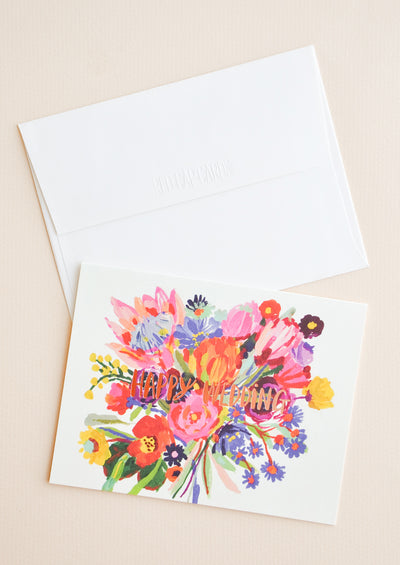 Happy Wedding Bouquet Card