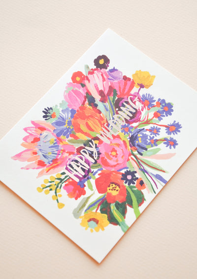 Happy Wedding Bouquet Card hover