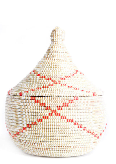 Red Ribbon Sweetgrass Basket - LEIF
