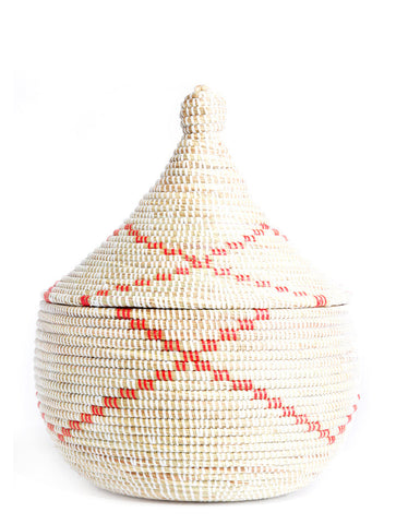 Red Ribbon Sweetgrass Basket