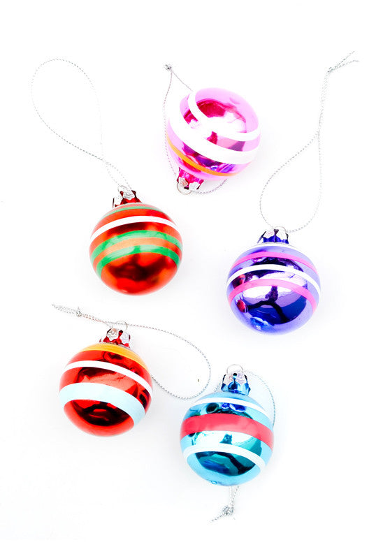 Retro Stripe Glass Ornament Set