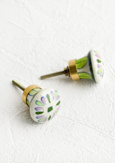Ceramic cabinet knobs with green and pink floral pattern.