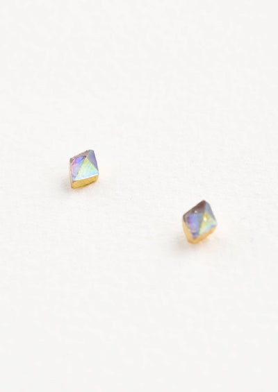 Rhombus Gemstone Stud Earrings hover