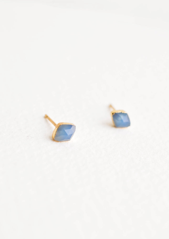 Blue Chalcedony: Three dimensional rhombus shaped blue stone stud earrings.