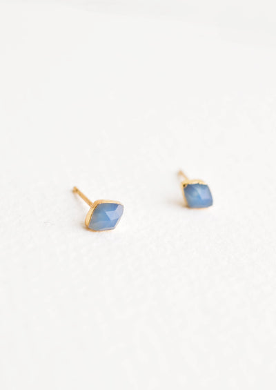 Rhombus Gemstone Stud Earrings