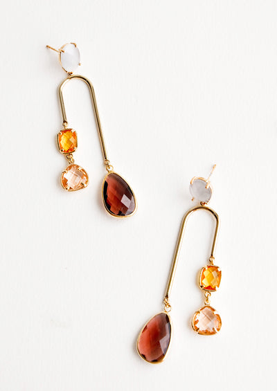 Rhubarb Gem Arch Earrings