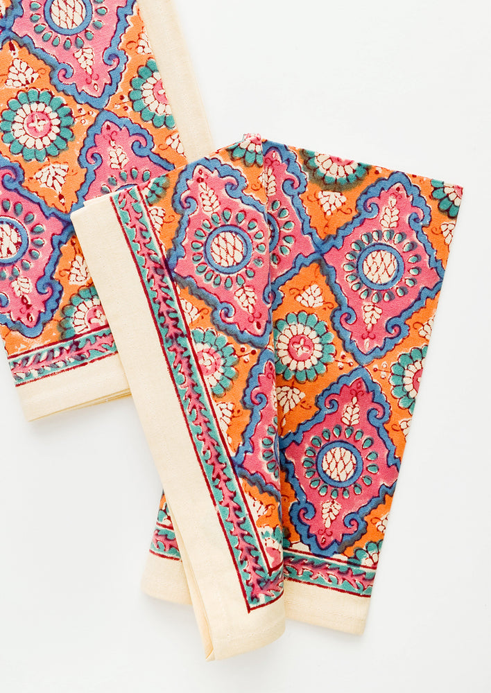 1: Pair of block printed cotton napkins in vibrant pink and orange pattern