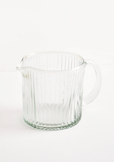 Ribbed Recycled Glass Pitcher in  - LEIF