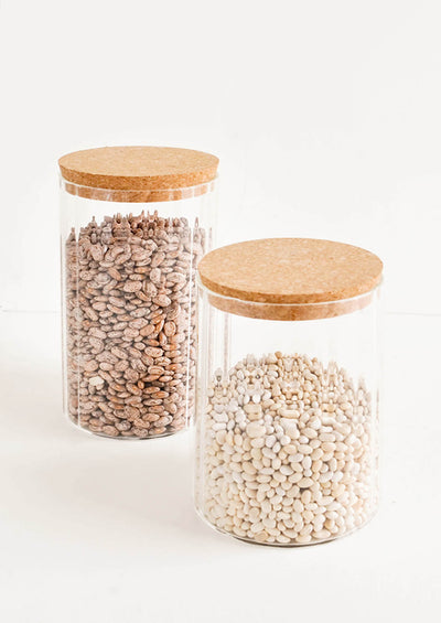 Ribbed Glass Storage Pantry Jars with Cork Lids - LEIF