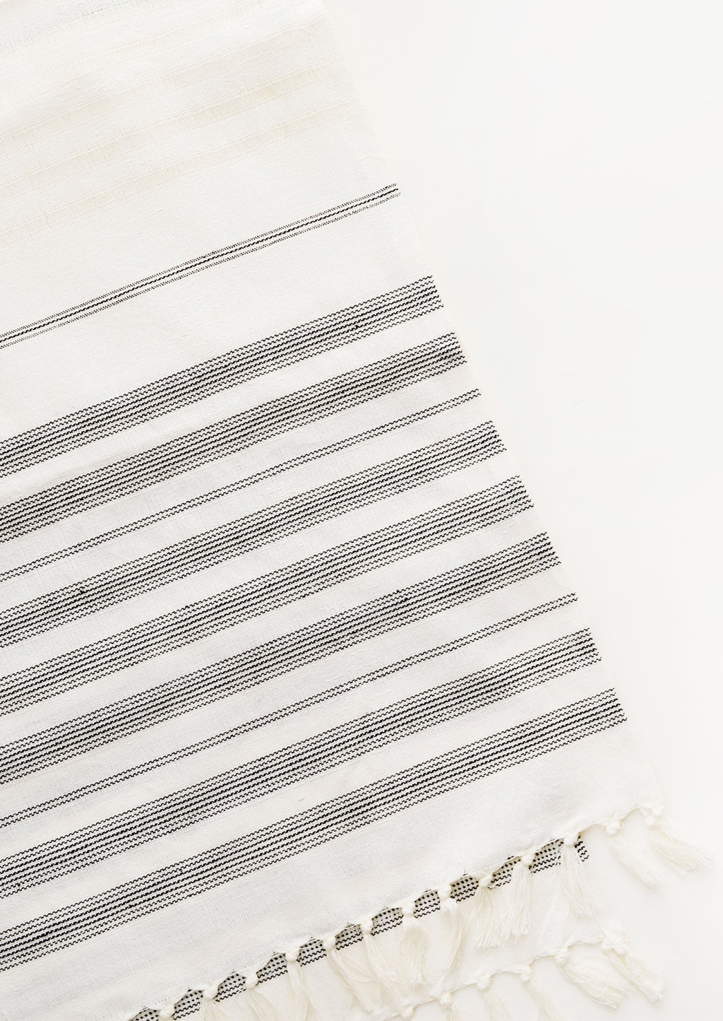 3: Ivory and black striped woven cotton table runner with fringed ends