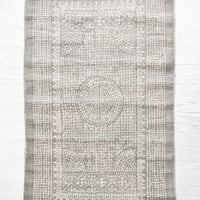Petrol: Flatweave rug with contrasting oriental pattern and fringe trimmed edges on two sides