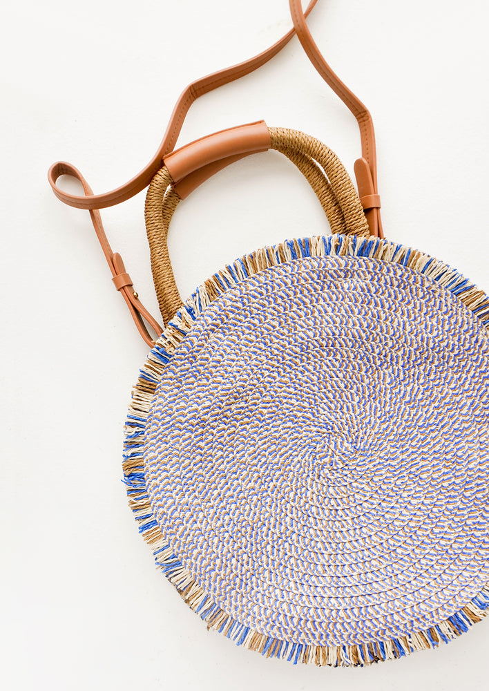Blue Multi: Riviera Circular Straw Crossbody in Blue Multi - LEIF