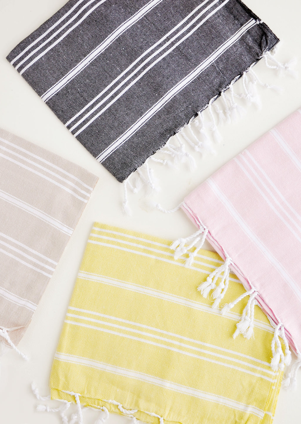 1: Colorful towels with white stripes in a variety of colors