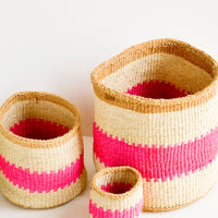 3: Set of woven sisal baskets in incremental sizes