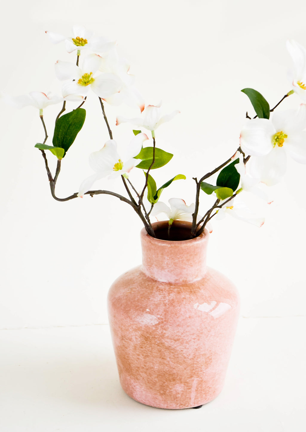 2: Distressed pink ceramic vase with dogwood flowers