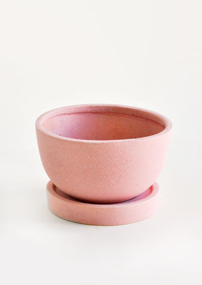 Unglazed Round Pink Ceramic Planter in Bowl Shape with Saucer