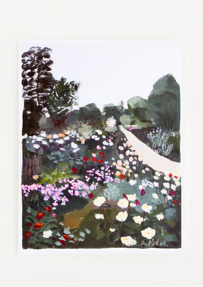 Art print featuring a dark yet colorful garden scene with pathway