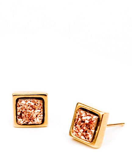 Square Drusy Studs in Rosegold - LEIF