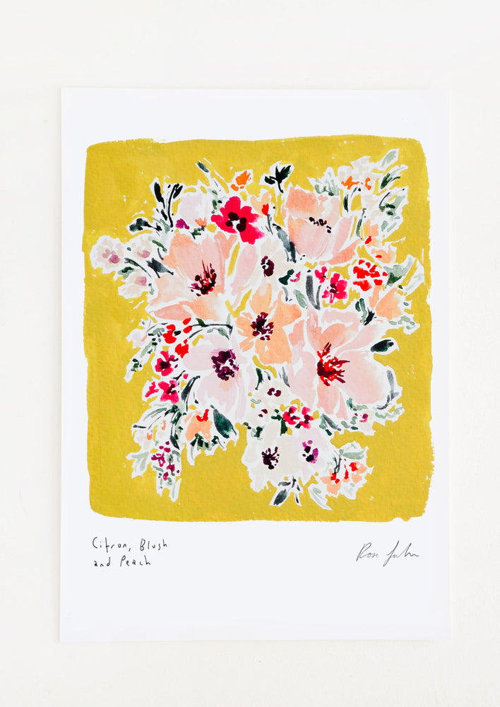 1: A floral watercolor and gouache art print with citron yellow background.