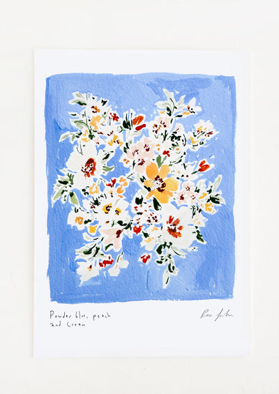 A floral watercolor and gouache art print with powder blue background.