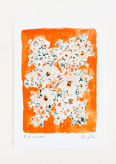 A floral watercolor and gouache art print with rust orange background.
