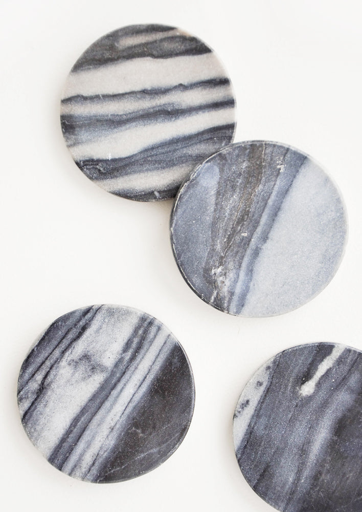 Black Marble: Set of 4 Round Grey Marble Coasters - LEIF