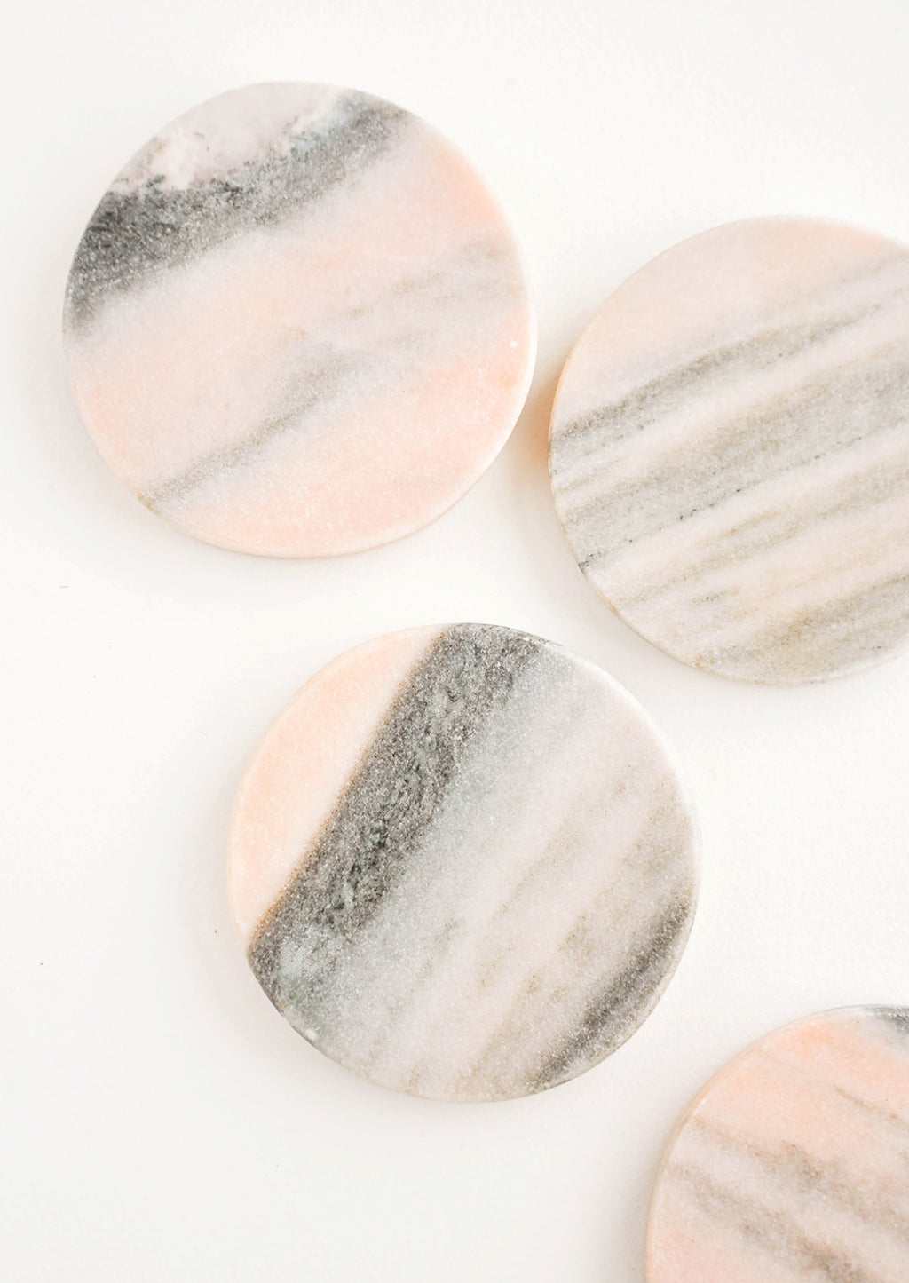 Pink Marble: Set of 4 Round Pink Marble Coasters - LEIF