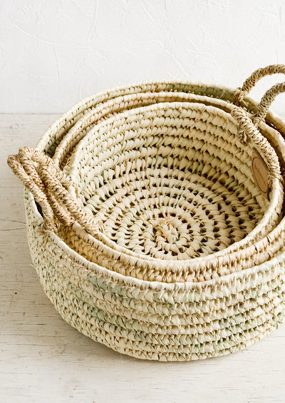 Palm Leaf Round Storage Basket hover