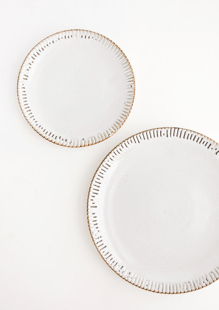 Rustic Grey Gloss / Dinner Plate: One dinner and one salad plate with glossy grey finish and rustic brown etching detail around rim.