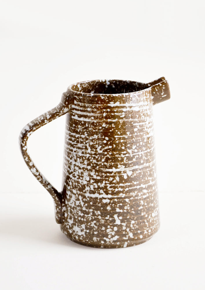 1: Speckled Rustic Ceramic Pitcher in Brown & White - LEIF
