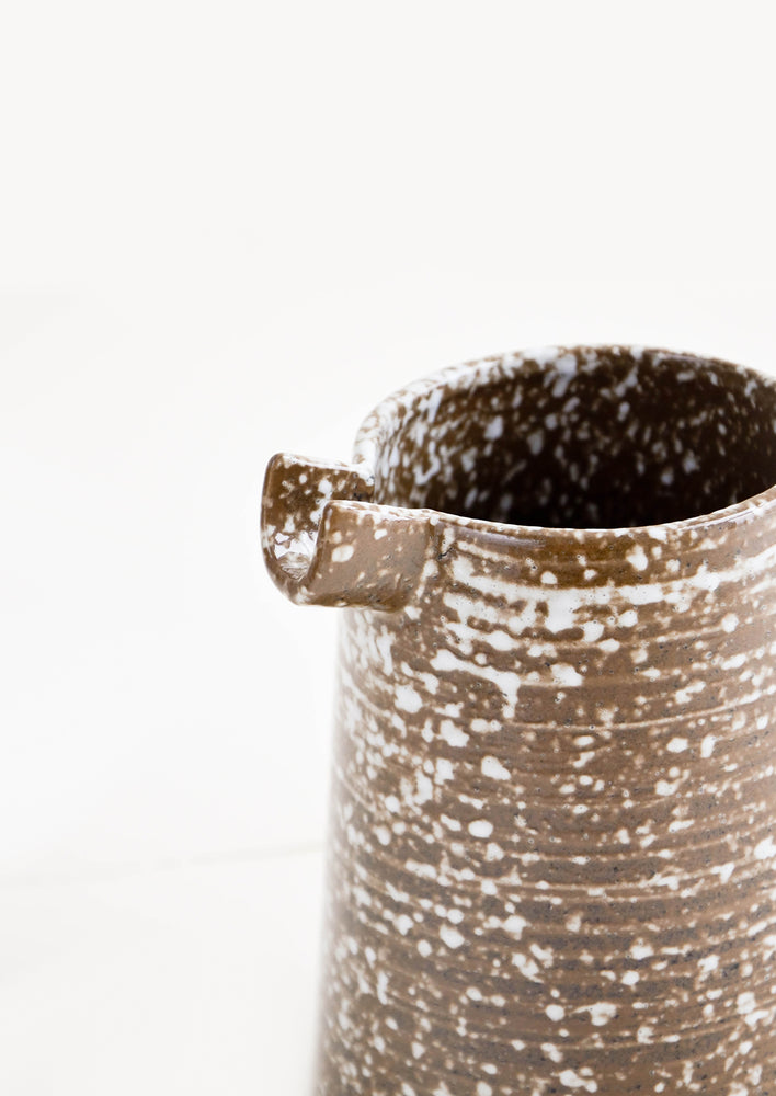 2: Spout Detail on Speckled Rustic Ceramic Pitcher in Brown & White - LEIF