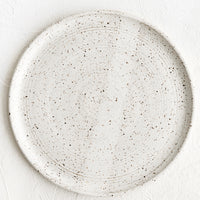 Speckled White / Dinner Plate: A speckled white ceramic dinner plate.