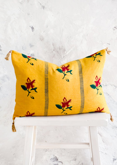 Saffron Block Printed Pillow