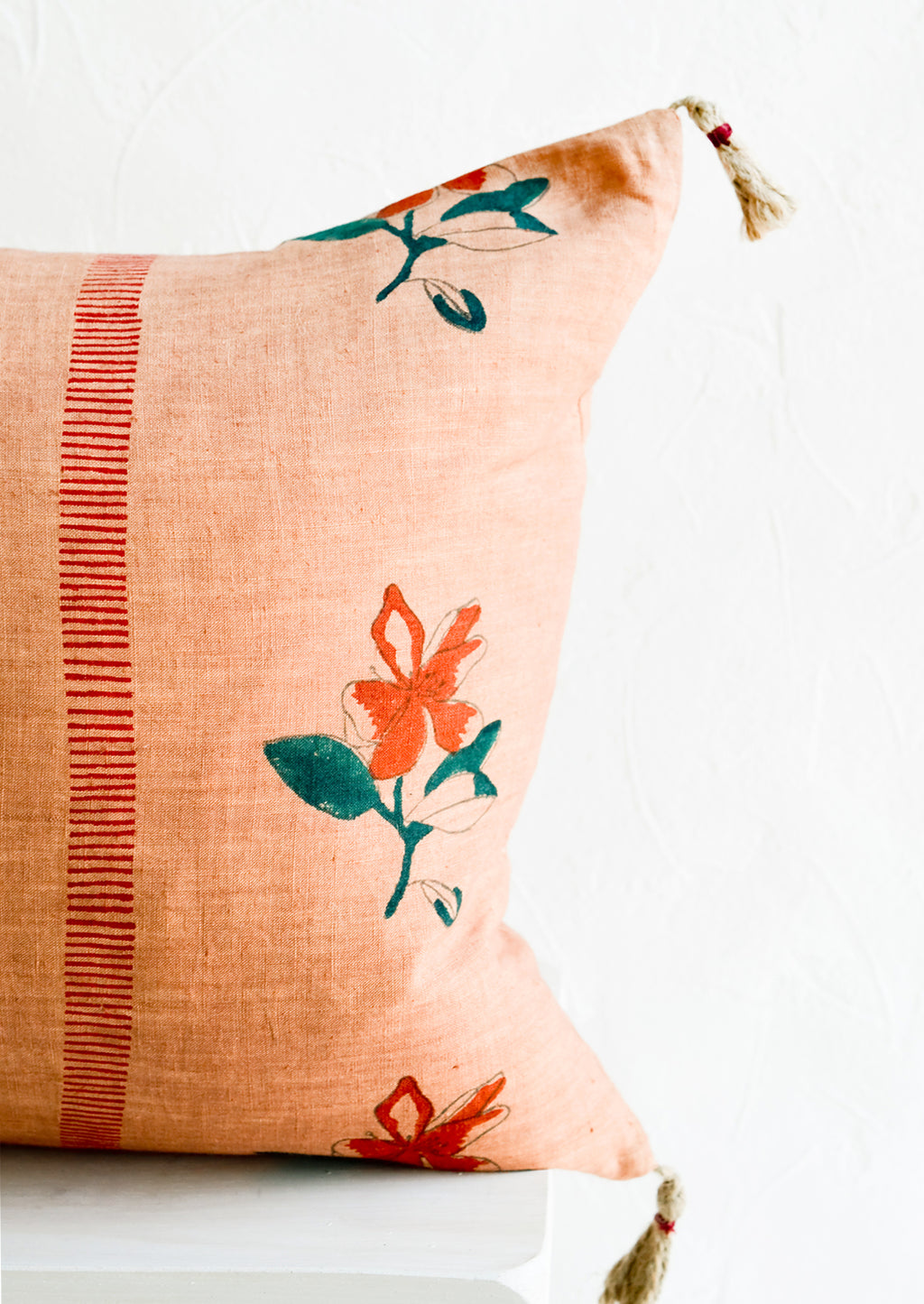 3: Block printed lumbar pillow in clay brown fabric with red flowers