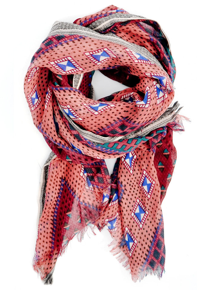 Rose Multi: Sahara Wool Scarf in Rose Multi - LEIF