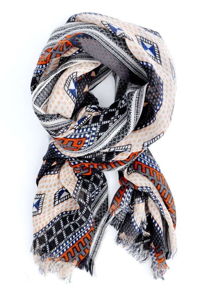 Sahara Wool Scarf in Grey Multi - LEIF