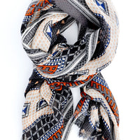Grey Multi: Sahara Wool Scarf in Grey Multi - LEIF