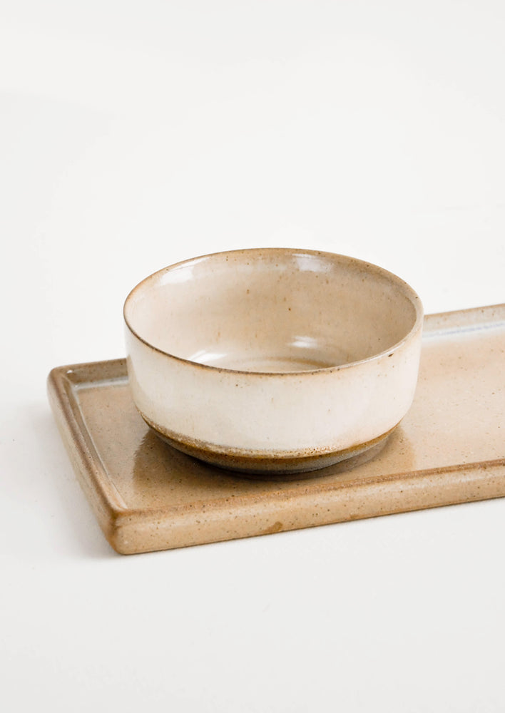 4: Closeup of Two Piece Beige Ceramic Serving Set with Rectangular Tray with Inset for Coordinating Bowl - LEIF