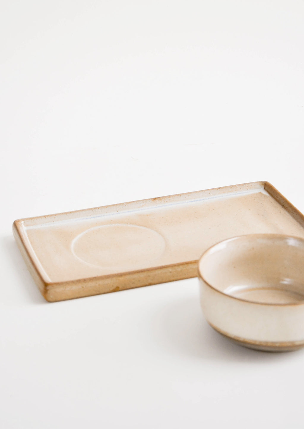 2: Two Piece Beige Ceramic Serving Set with Rectangular Tray with Inset for Coordinating Bowl - LEIF