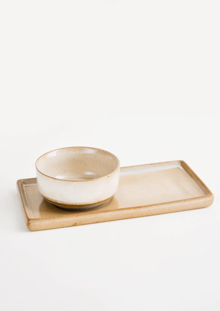 1: Two Piece Beige Ceramic Serving Set with Rectangular Tray with Inset for Coordinating Bowl - LEIF