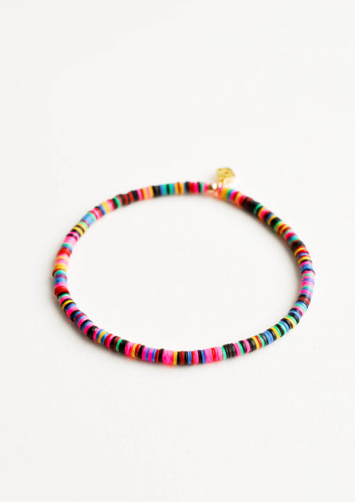 Bright multicolored heishi bead bracelet.