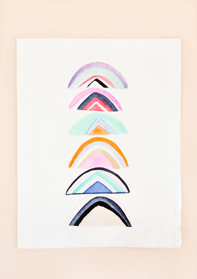 A stack of unconventional rainbows are shown in watercolor on a plain white background.