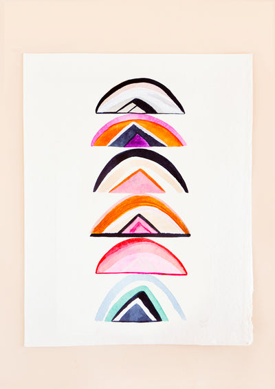 Six unconventionally colored rainbows are stacked top to tail on a white background.