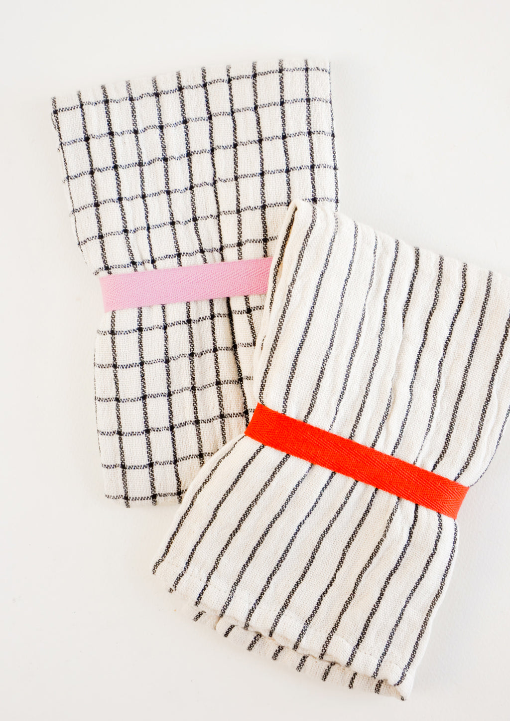 1: Gauzy cotton tea towel in white with black grid or stripes