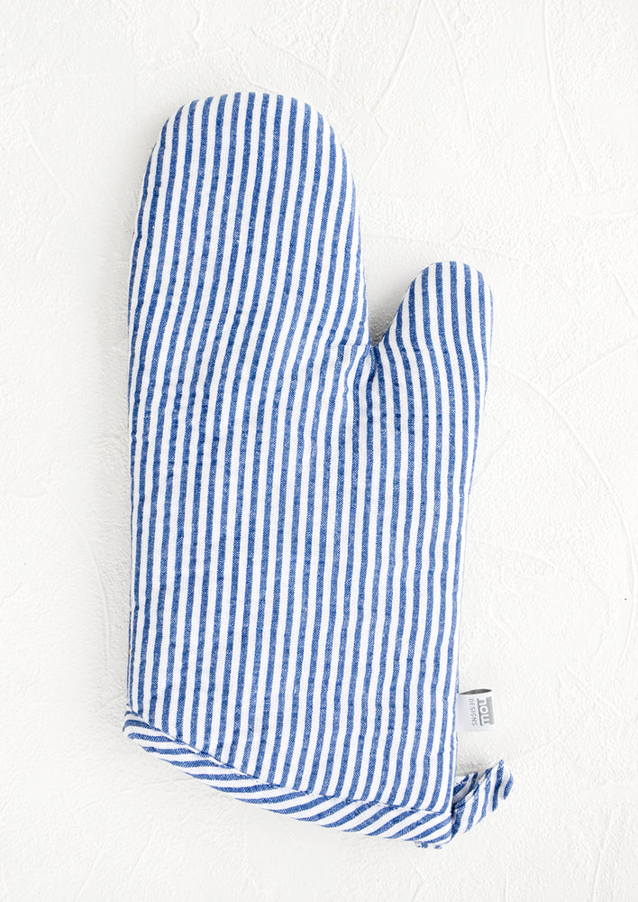 1: Blue and white seersucker striped oven mitt