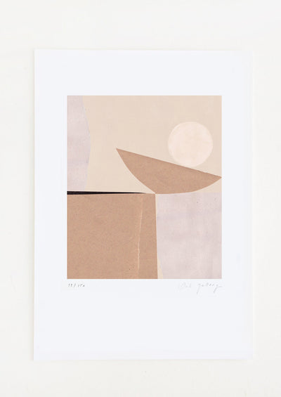 An abstract art print featuring a geometric composition in brown, tan and cream.