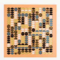 1: Artwork with geometric lasercut design, allover half-circles in mix of patterns and colors