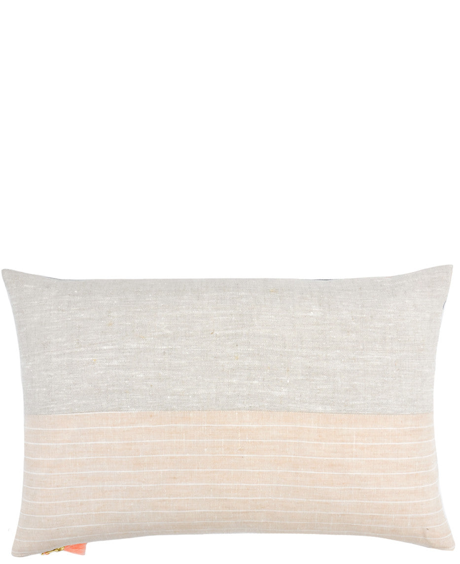 5: Square throw pillow with natural linen top half and striped linen bottom
