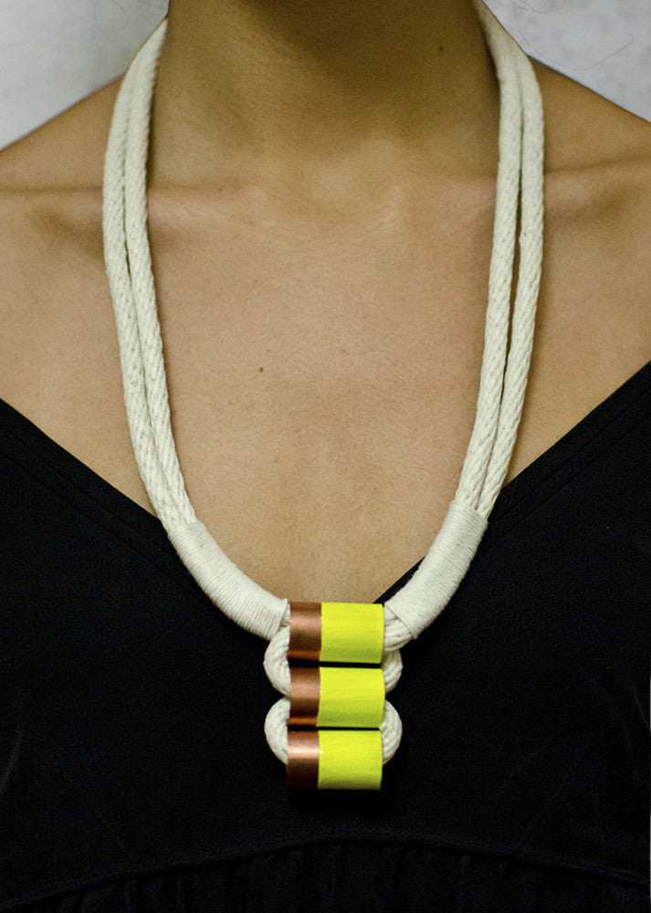 Sepia Beauty Neon Dip Rope Necklace