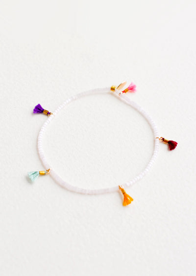 Delica Mini Tassel Bracelet in Rose Ice - LEIF